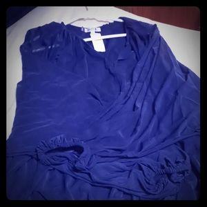 💋J. Lo Long sleeve blue blouse NWT💋